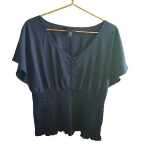 || APOSTROPHE || XL Navy Blue Blouse